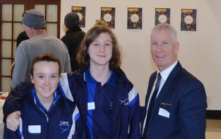 Lara Secondary Principal Wayne Terrill with one of top 11 ideas finalists Josh McDonald