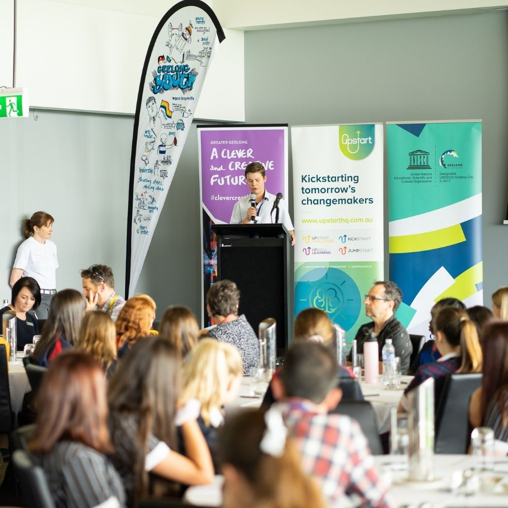 Student presenting at Geelong Youth Forum in 2019